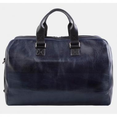 Фото Кожаная дорожная сумка синяя SD002