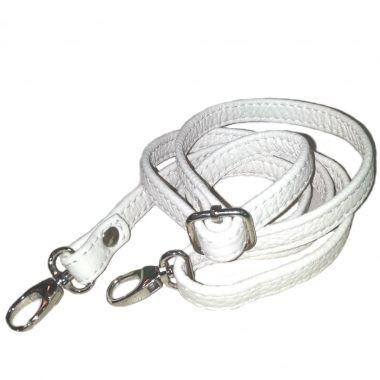 Фото Кожаный ремень для сумки белый