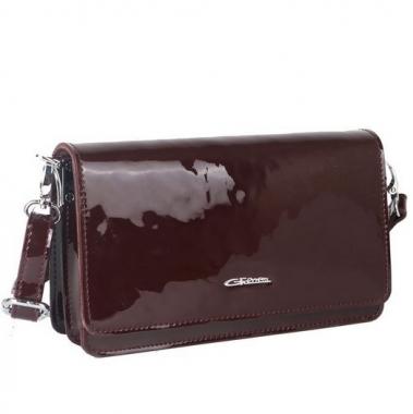 Фото Лаковая сумочка-клатч 35449 бордовая