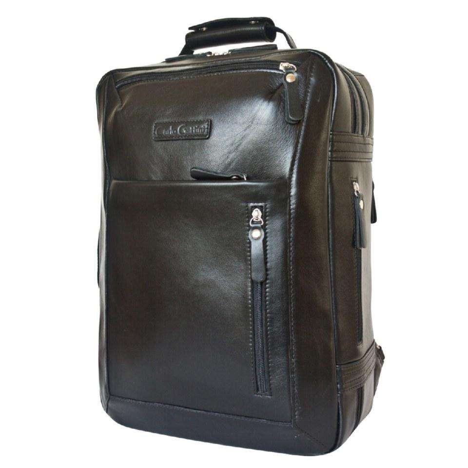 Фото Дорожная сумка рюкзак из кожи Катиллон черная