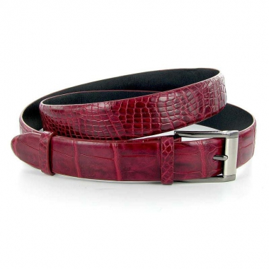 Фото Ремень из кожи крокодила, цвет: бордовый