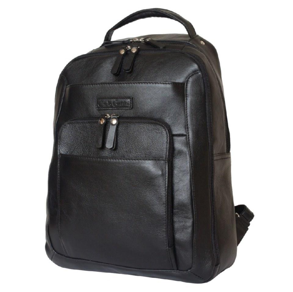 Фото Кожаный мужской рюкзак Монфестино черный