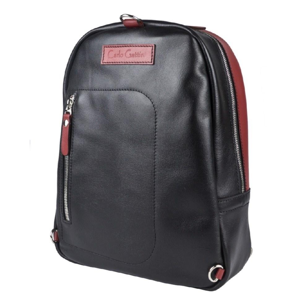 Фото Кожаный рюкзак Альбера черный с красным