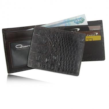Фото Мужской бумажник из кожи крокодила, цвет: шоколад