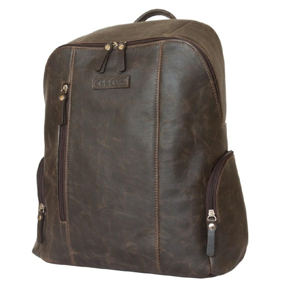 Фото Городской кожаный рюкзак Версола коричневый
