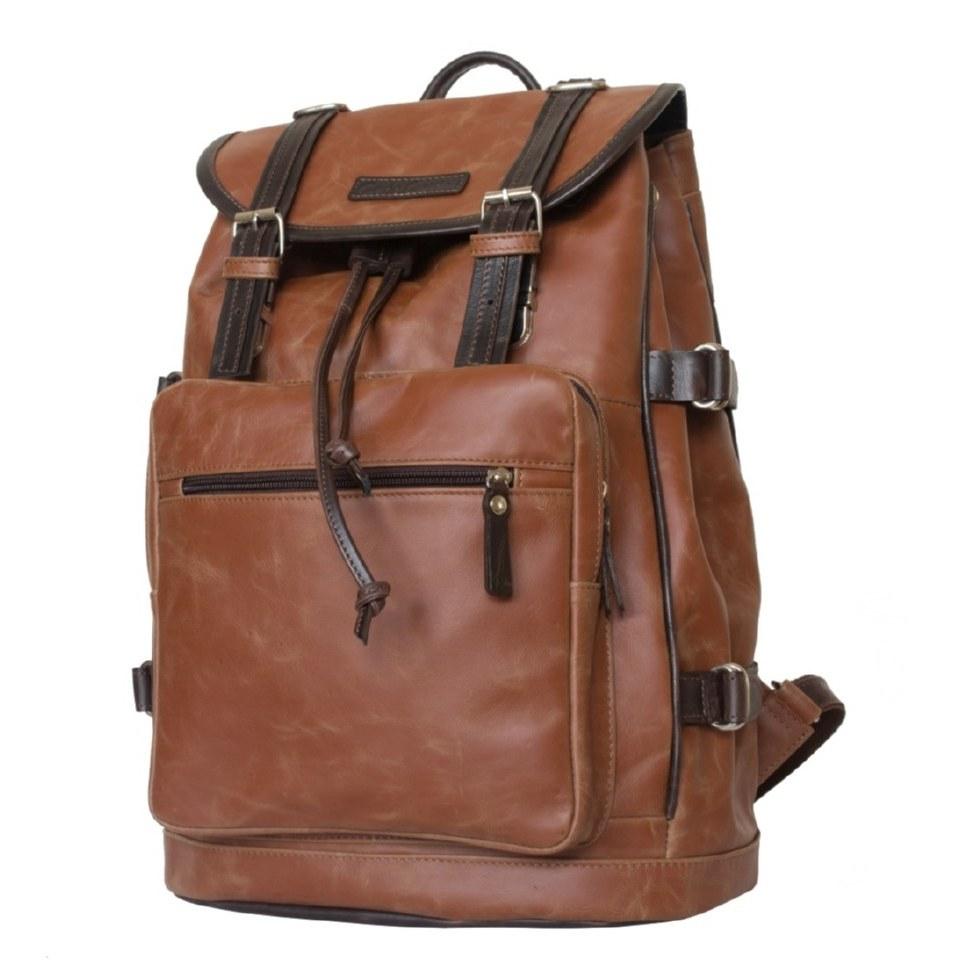 Фото Кожаный рюкзак-торба Волтурно рыжий
