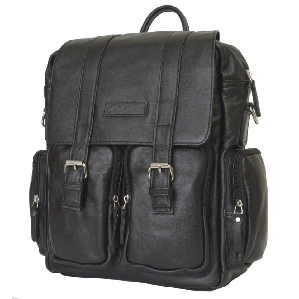 Фото Кожаный рюкзак-сумка Фиорентино черный