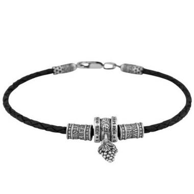 Фото Мужской браслет из серебра и кожи