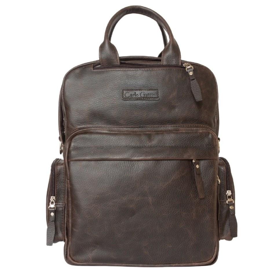Фото Кожаная сумка-рюкзак Рено коричневый