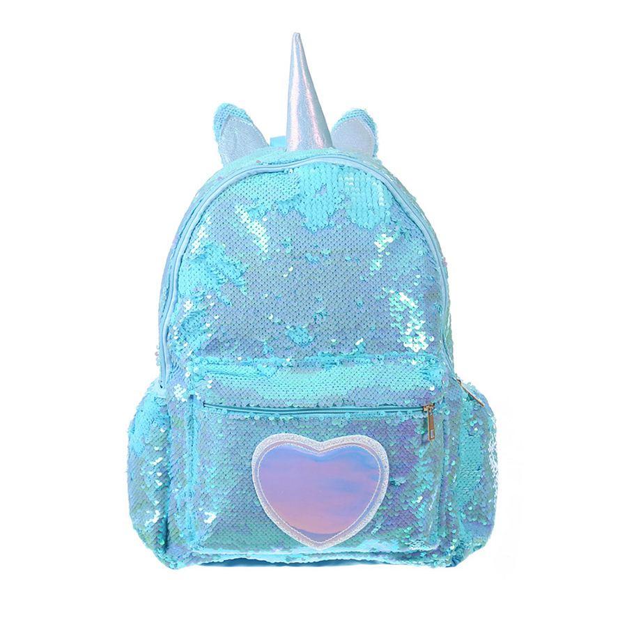 Фото Дошкольный рюкзак с пайетками Единорог с сердцем Bright Dreams бирюзовый