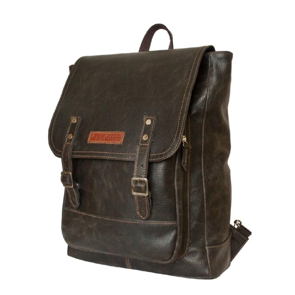 Фото Кожаный мужской рюкзак Монтальфано коричневый