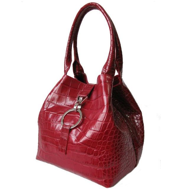 Роскошная бордовая сумка-корзинка из крокодиловой кожи