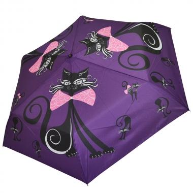 """Фото Женский зонт Ame Yoke """"Кошка"""" фиолетовый"""