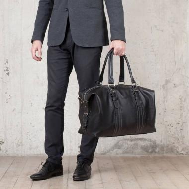 Фото Дорожная кожаная сумка Olympus Black