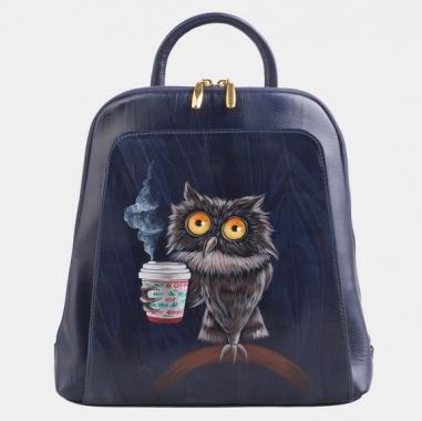 """Фото Кожаный рюкзак с рисунком """"Утренняя сова"""""""