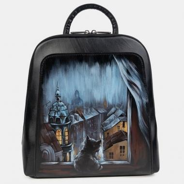 """Фото Черный рюкзак с рисунком """"Зимний вечер"""""""