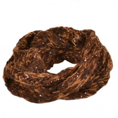 Фото Шарф снуд коричневый с пайетками 100