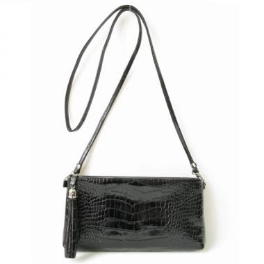Фото Мини сумка через плечо черная 8408