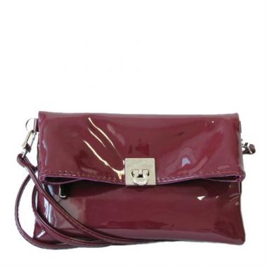 Фото Мини сумка бордовый лак 8501