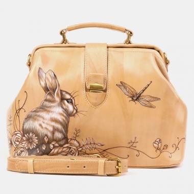 Фото Женская сумка-саквояж из светлой кожи W0023