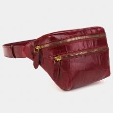 Кожаная поясная сумка бордовая KB0015