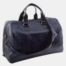 Кожаная дорожная сумка синяя SD002 фото-2