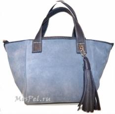 Женская сумка 3299 голубая замша