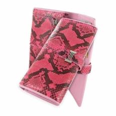 Портмоне женское из кожи питона, цвет: ярко-розовый