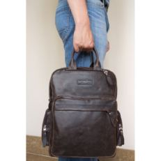 Кожаная сумка-рюкзак Рено коричневый фото-2