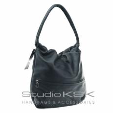 Мякая сумка женская мешок из черной кожи 2106