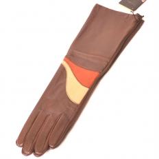 Кожаные перчатки женские из коричневой кожи 27-132-457