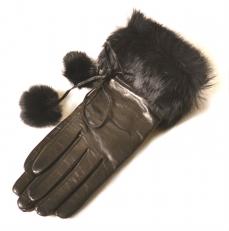 Женские кожаные перчатки с отделкой из меха 27k-40013