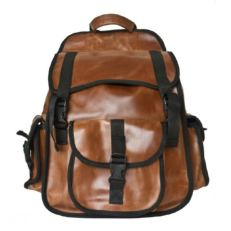 Городской кожаный рюкзак Альпрато рыжий фото-2