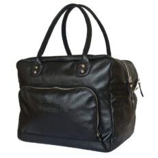 Кожаная сумка в ручную кладь Орис черная