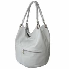 Большая кожаная белая сумка женская 3079