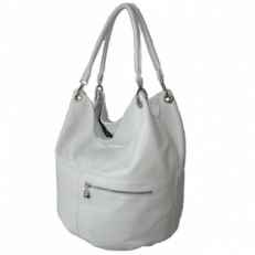 Большая кожаная сумка KSK 3079 белая
