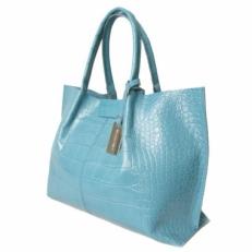 Красивая женская сумка из бирюзовой кожи под крокодила 3120