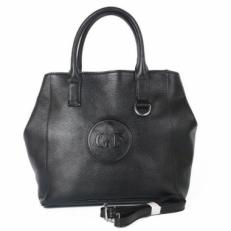 Кожаная сумка-мешок 32343 черная