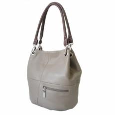 Женская сумка мешок из кожи цвета латте 3279