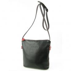 Женская сумка через плечо черная с красным 3503