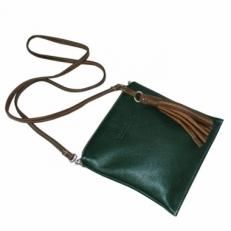 Мягкая женская сумочка из кожи цвета изумруд 3533