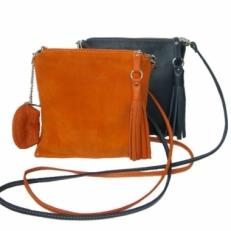 Женская мини сумочка из кожи апельсинового цвета 3533