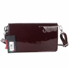 Лаковая сумочка-клатч 35449 бордовая фото-2