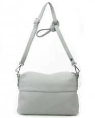 Летняя кожаная сумка женская 3833 серая фото-2