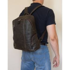 Городской кожаный рюкзак Версола коричневый фото-2