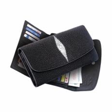 Женский кошелек, цвет: черный с белой вставкой