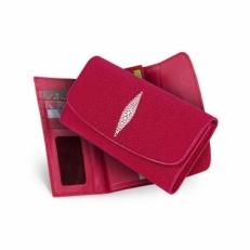 Женский кошелек из кожи ската, цвет: красный