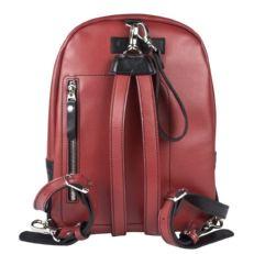 Кожаный рюкзак Альбера черный с красным фото-2