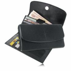 Женский кошелек из кожи ската, с закруглённой крышкой, цвет: черный матовый
