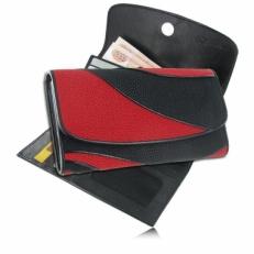 Женский кошелек из кожи ската, цвет: черный/красный